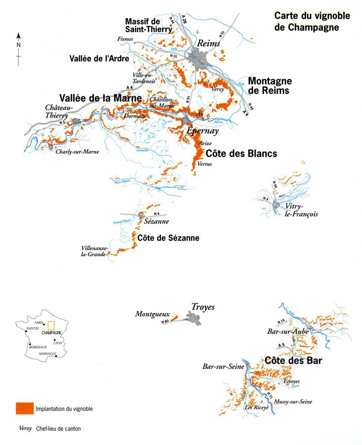 Carte vignoble Champagne - Champagne à Ouistreham (Caen la mer) dans le Calvados