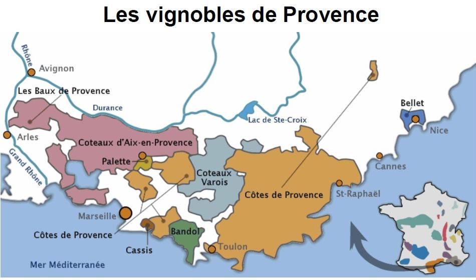Carte vignobles Provence - Vin de Provence à Ouistreham (Caen la mer) dans le Calvados