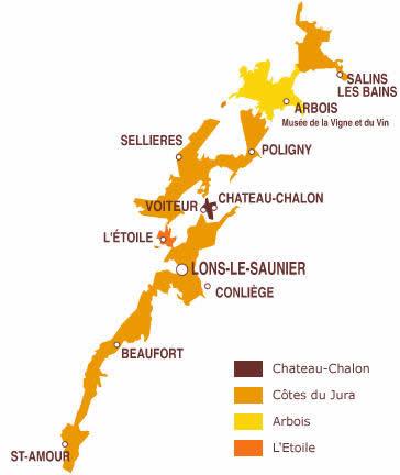 carte vignoble Jura - Vin du Jura à Ouistreham (Caen la Mer) dans le Calvados