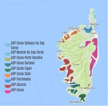 Carte vignobles Corse - Vin de Corse à Ouistreham (Caen la mer) dans le Calvados