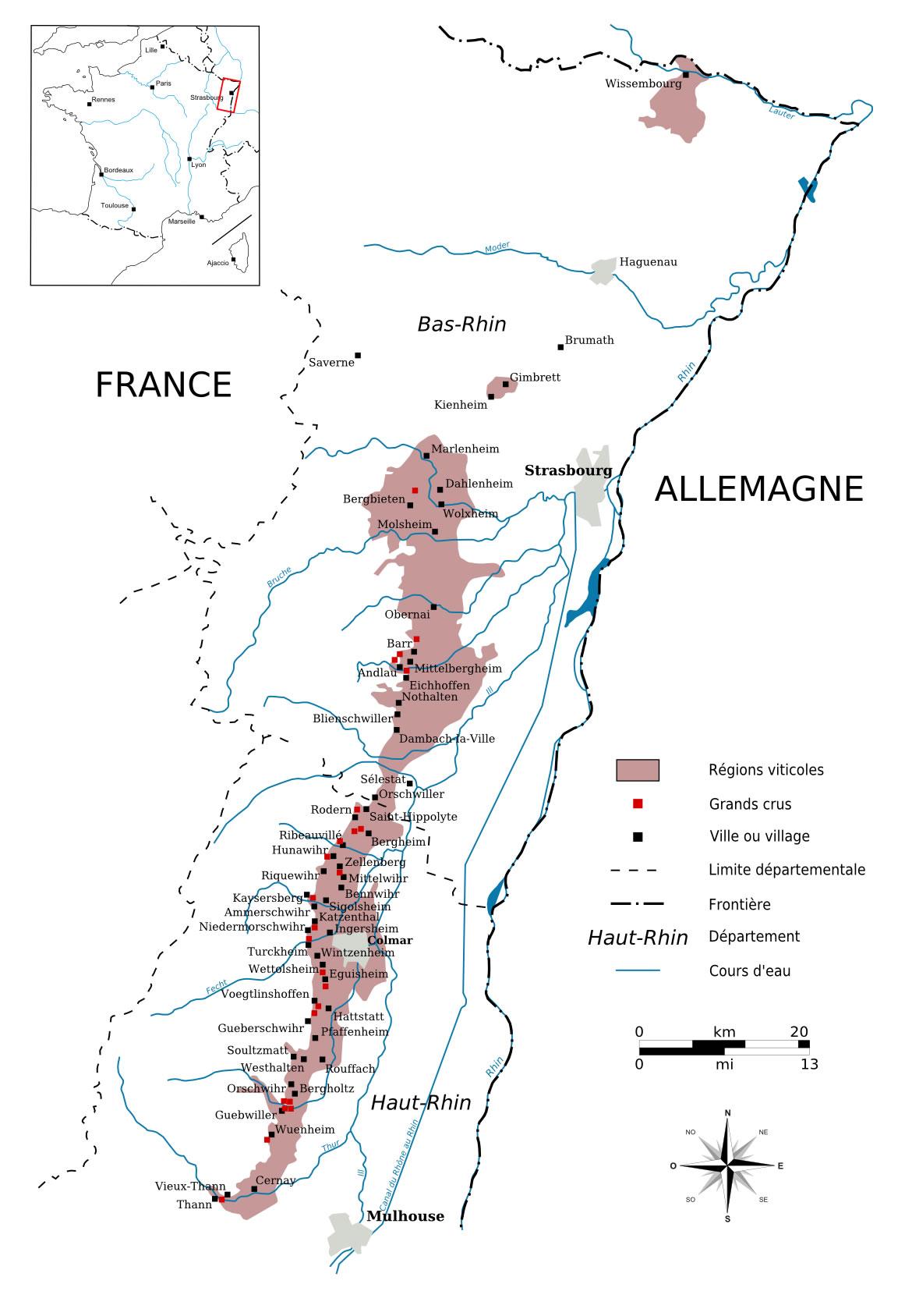 Carte vins d'Alsace - Vins d'Alsace à Ouistreham (Caen la mer) dans le Calvados