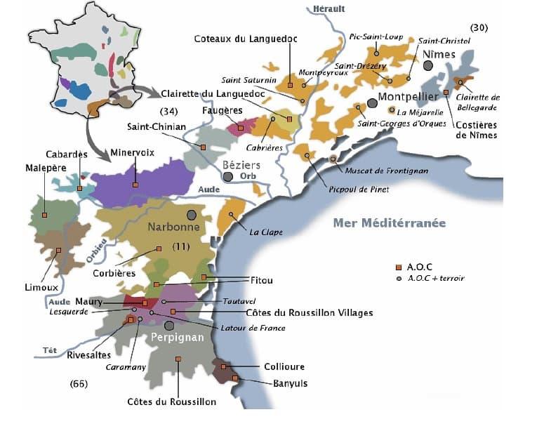 Carte vignoble du Languedoc-Roussillon - Vins du Languedoc-Rousillon à Ouistreham (Caen la mer) dans le Calvados