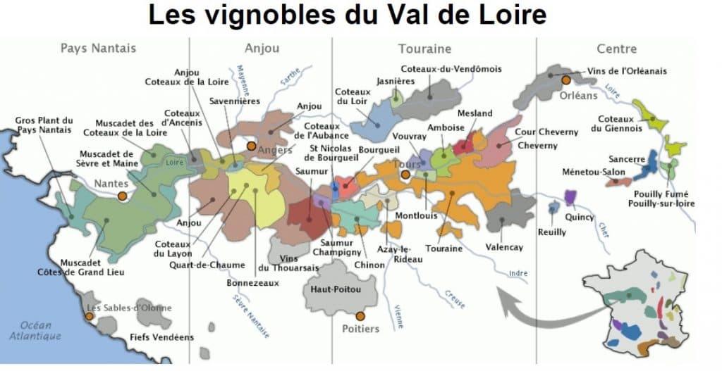 Carte Appellation Vin du Val de Loire et Centre