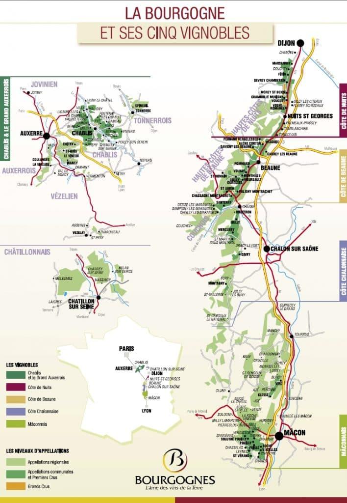 Carte Vignoble Bourgogne - Vin de Bourgogne à Ouistreham (Caen la mer) dans le Calvados