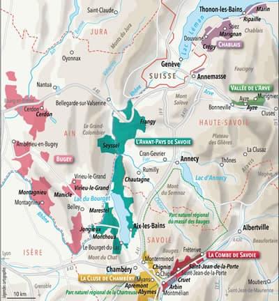 carte vignoble de Savoie - Vin de Savoie à Ouistreham (Caen la Mer) dans le Calvados