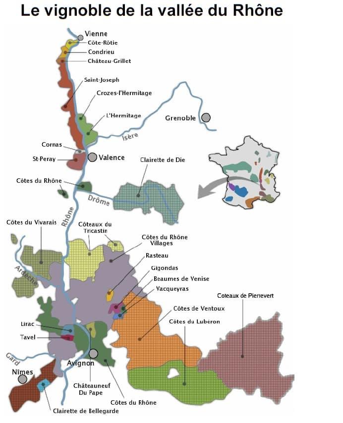 Carte vignoble de la vallée du Rhône - Vins de Côtes du Rhône à Ouistreham (Caen la mer) dans le Calvados